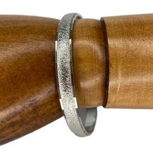 Monet Silver Tone Textured Small Bangle Bracelet